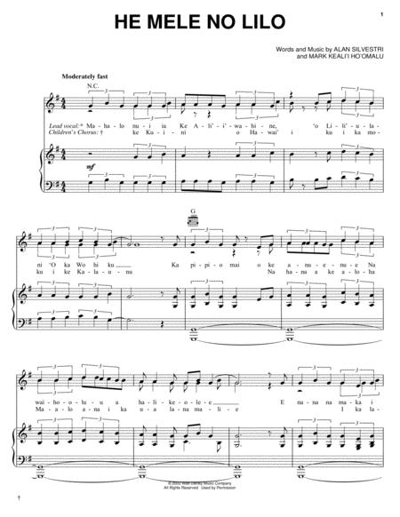 Download Digital Sheet Music of Lilo Stitch for Piano, Vocal and ...