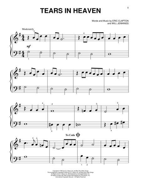 tears in heaven piano sheet pdf