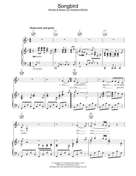 songbird fleetwood mac piano sheet music pdf