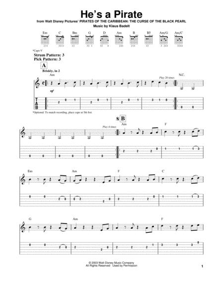 Download Digital Sheet Music of Klaus Badelt for Guitar notes and ...