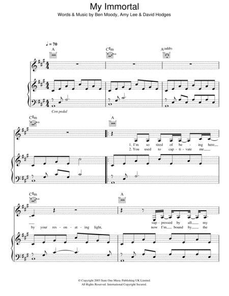 Piano u00bb My Immortal Piano Tabs - Music Sheets, Tablature, Chords and Lyrics