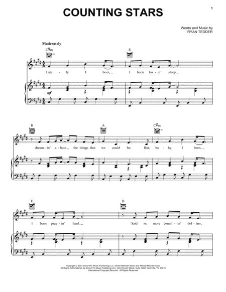 Drum drum chords for counting stars : OneRepublic sheet music to download and print - World center of ...