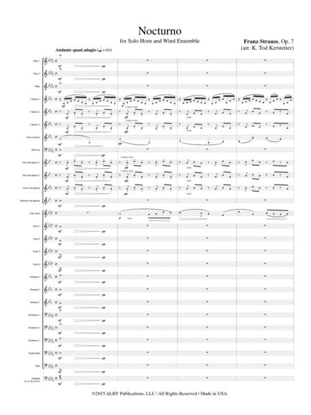sheet music franz strauss nocturno op 7 french horn and piano. Black Bedroom Furniture Sets. Home Design Ideas