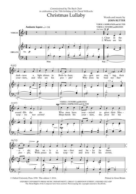 Lyrics containing the term: christmas lullaby by john rutter