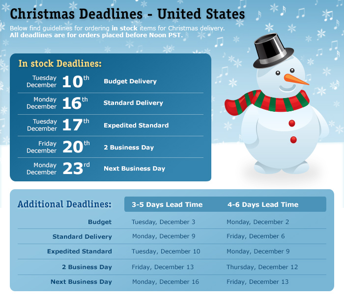 Christmas Deadlines - US