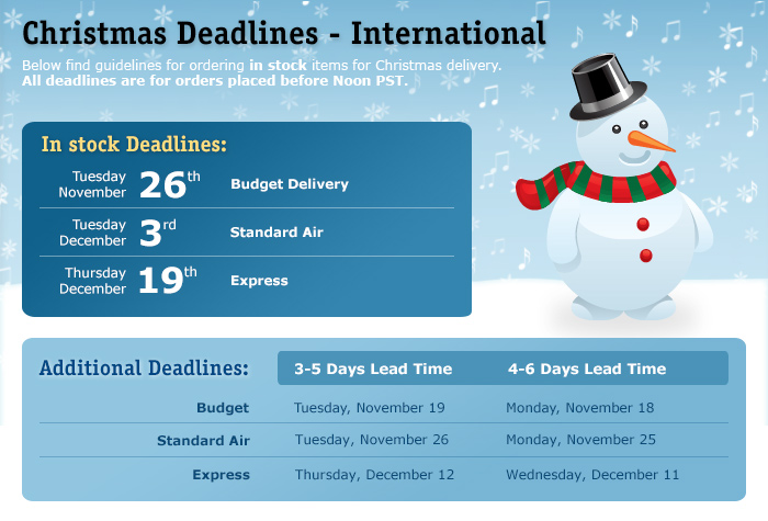 Christmas Deadlines - International
