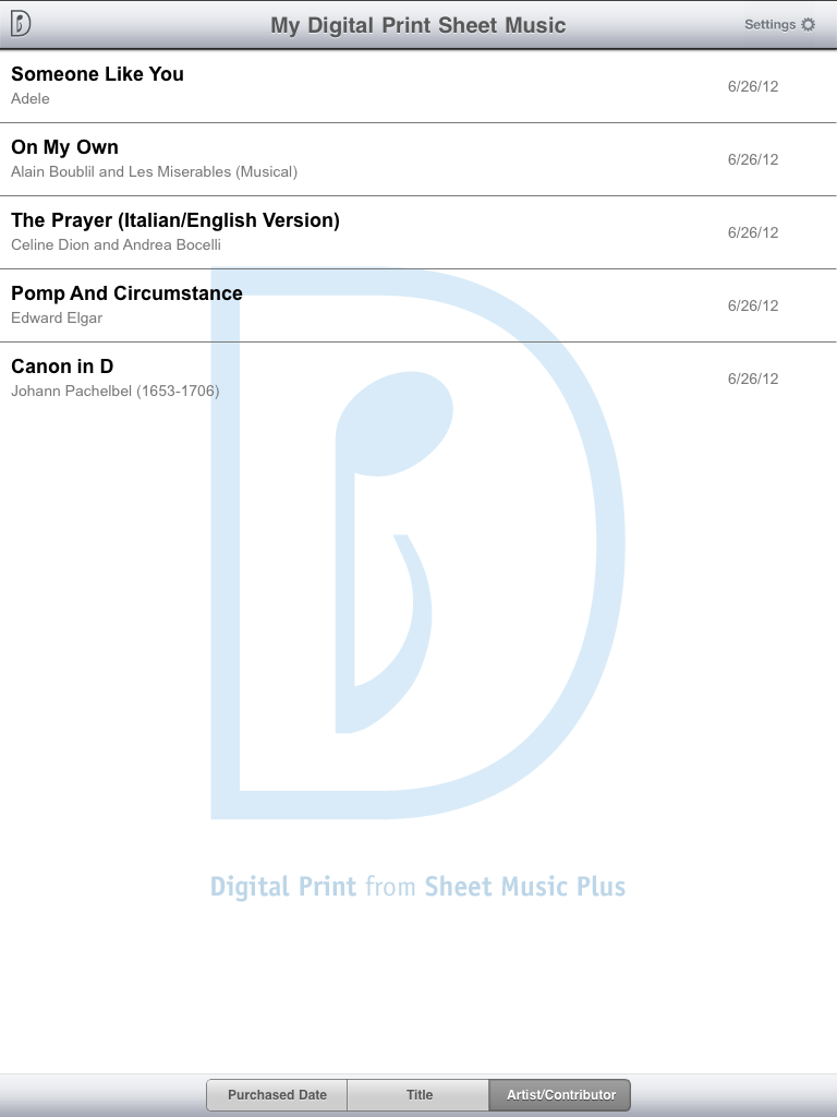 Sheet Music Plus Digital Print iPad App