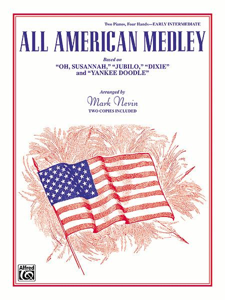 ALL AMERICAN MEDLEY PATRIOTIC M-8 TWO PIANOS FOUR HANDS YANKEE DOODLE DIXIE
