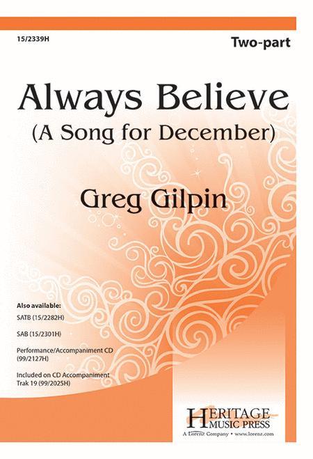 Sheet Music Always Believe 2 Part Piano