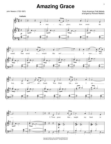 Download Digital Sheet Music Of Amazing Grace For Piano Voice