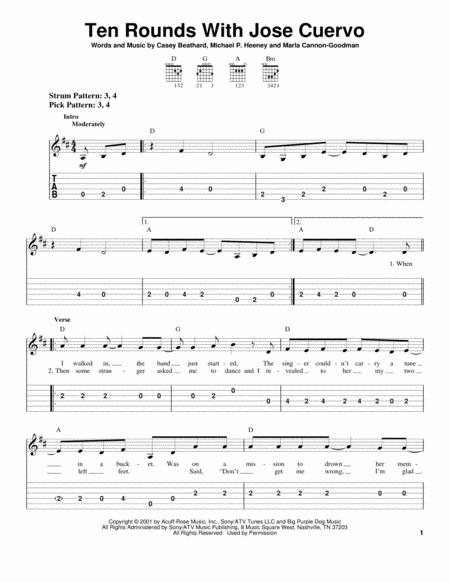 For Easy Guitar With TAB Country Standard Notation Tablature 5 Pages Published By Hal Leonard