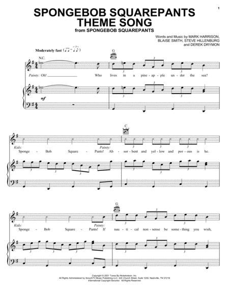 Download Digital Sheet Music Of Spongebob Squarepants For Piano