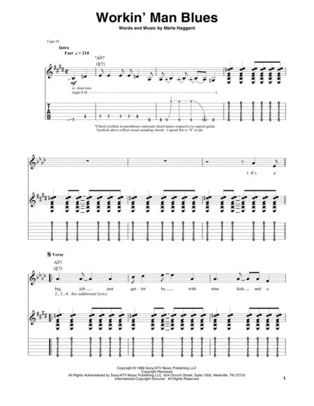 Download Digital Sheet Music of Merle Haggard for Guitar notes and ...