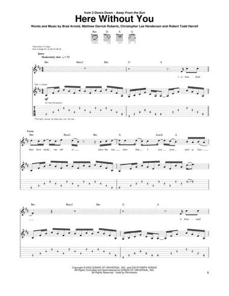 Guitar kryptonite guitar tabs : 3 Doors Down sheet music to download and print - World center of ...