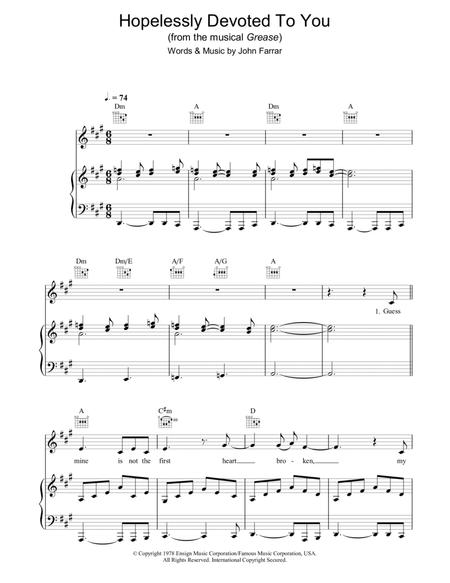 Olivia Newton John And Grease Musical Sheet Music To Download And