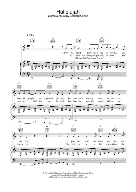 Download Digital Sheet Music Of Leonard Cohen Hallelujah For Piano