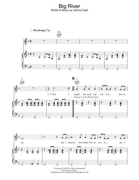 Download Digital Sheet Music Of Big River For Piano Vocal And Guitar