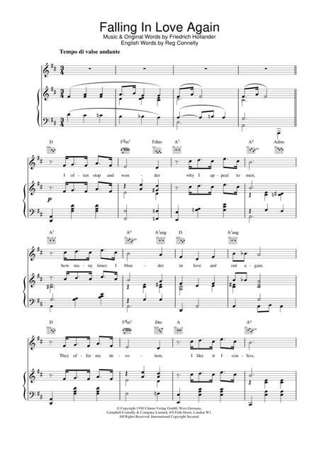 Download Digital Sheet Music of marlene dietrich for Piano, Vocal ...