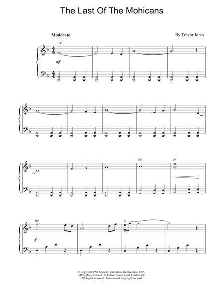 partition musique le dernier des mohicans