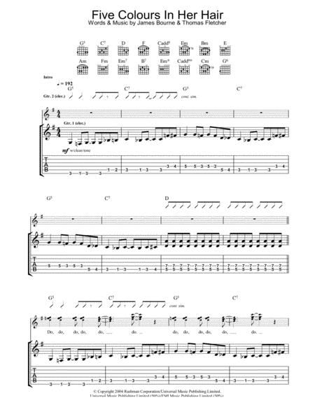 Download Digital Sheet Music Of Mcfly For Guitar Notes And Tablatures