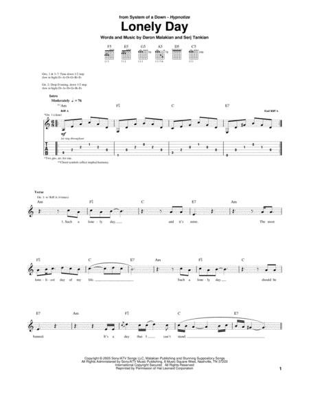 Download Digital Sheet Music of System of a Down for Guitar notes ...