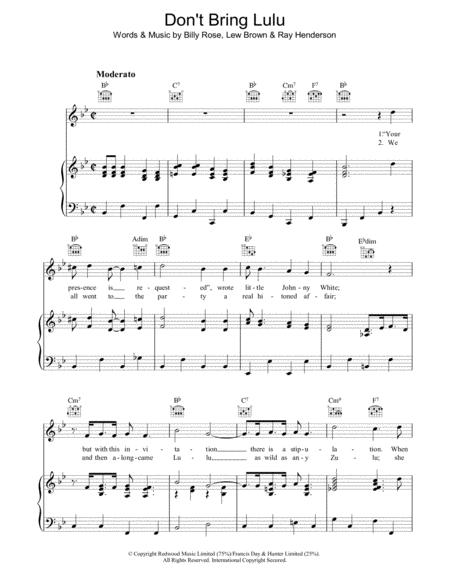 Download Digital Sheet Music of Ray Henderson Lew Brown for Piano ...