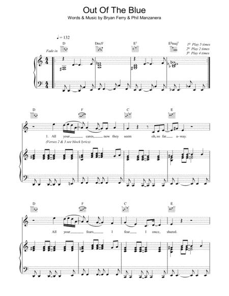 Download Digital Sheet Music of Out of the blue. for Piano, Vocal ...