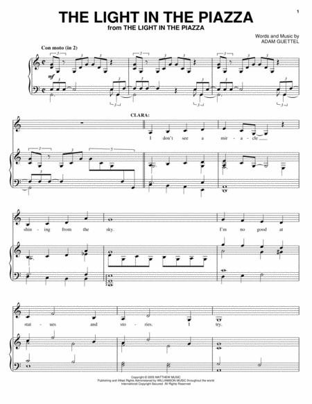 Adam Guettel And The Light In The Piazza Musical Sheet Music To