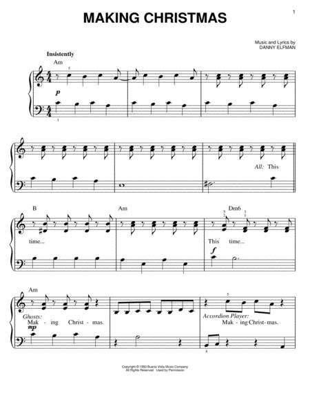 By Danny Elfman and The Nightmare Before Christmas (Movie). For easy piano. Christmas; Disney; Film/TV; Holiday; Pop. 8 pages. Published by Hal Leonard ...