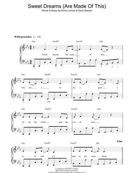 Download Digital Sheet Music Of Sweet Dreams For Piano Vocal And Guitar