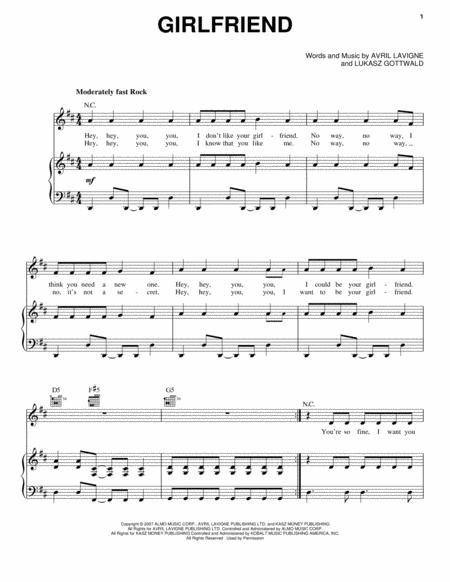 Avril Lavigne sheet music to download and print - World center of ...