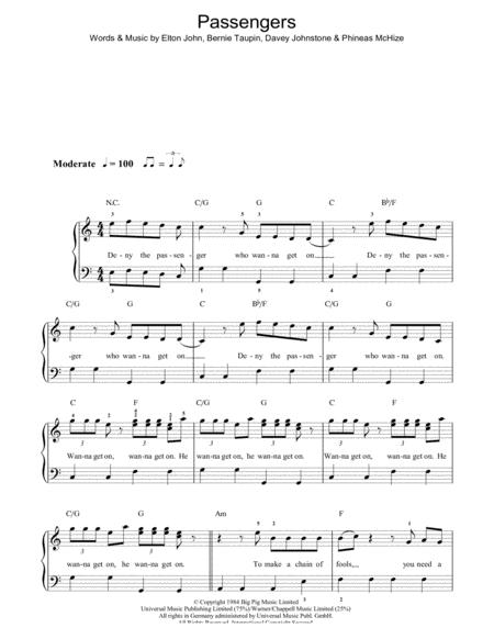 Download Digital Sheet Music of passenger for Piano, Vocal and Guitar