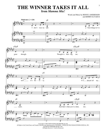 abba and mamma mia musical sheet music to download and. Black Bedroom Furniture Sets. Home Design Ideas