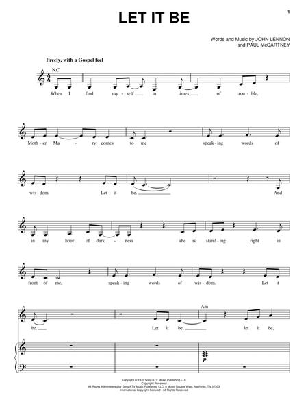 Download Digital Sheet Music of let it be for Piano, Vocal and Guitar