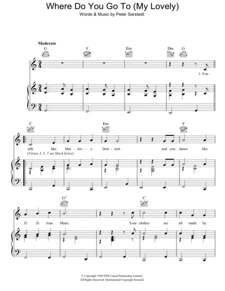 Peter Sarstedt sheet music to download and print - World center of ...