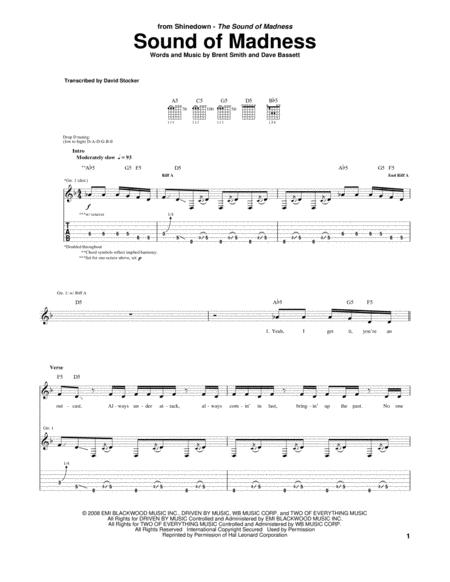 Download Digital Sheet Music of madness for Guitar notes and