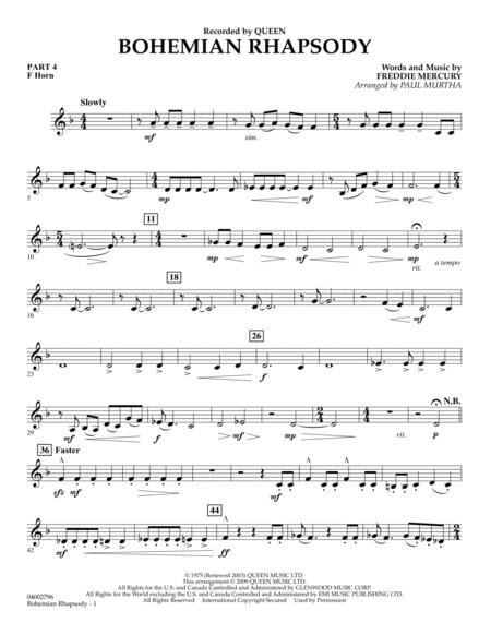 Download Digital Sheet Music of Bohemian Rhapsody for French horn