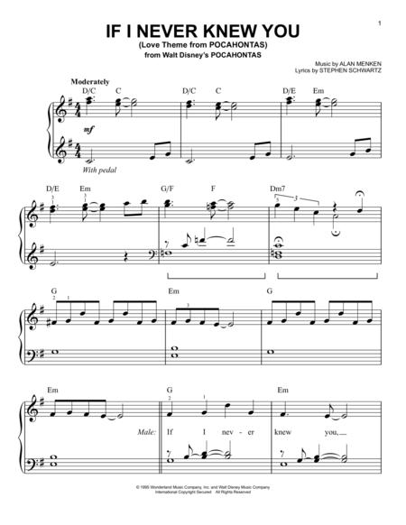 pocahontas sheet music to download and print - World center