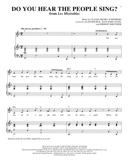 Download Digital Sheet Music of les miserables for Piano, Vocal and ...