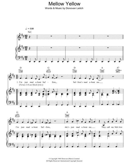 Download Digital Sheet Music of donovan leitch for Piano, Vocal and ...