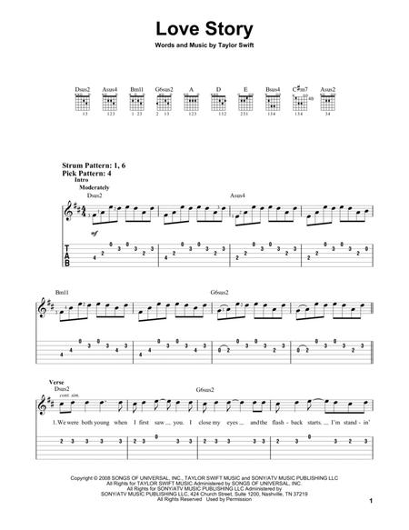 Download Digital Sheet Music Of Love Story For Guitar Notes And