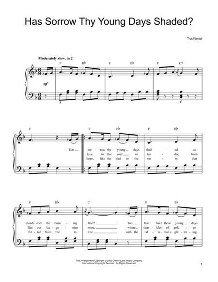 Download Digital Sheet Music of irish folk song for Easy Piano