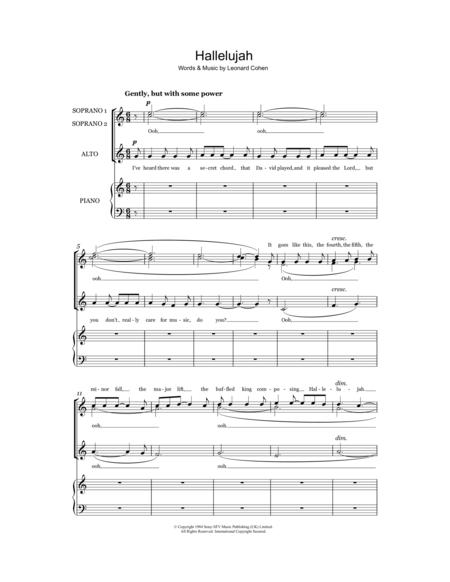 Download Digital Sheet Music of leonard cohen: hallelujah for Choral
