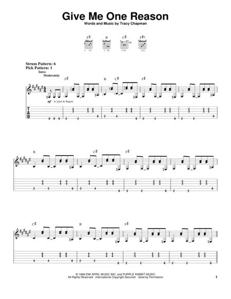 Download Digital Sheet Music Of Tracy Chapman For Guitar Notes And