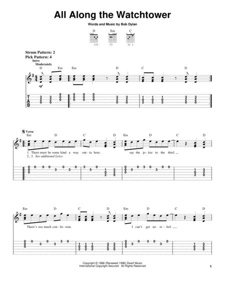 Bob Dylan and Jimi Hendrix sheet music to download and print - World ...