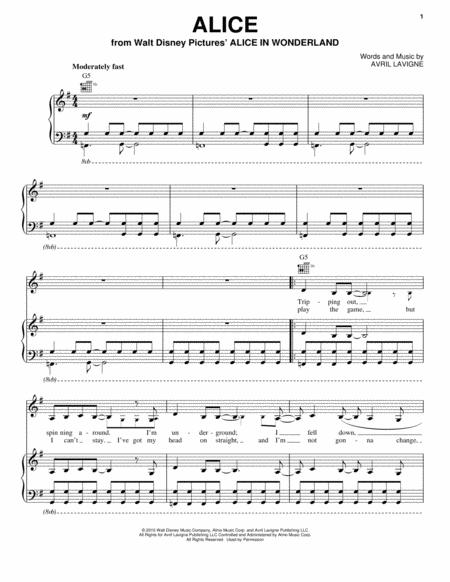 Download Digital Sheet Music of Avril Lavigne for Piano, Vocal and ...