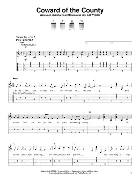 Download Digital Sheet Music Of Kenny Rogers For Guitar Notes And