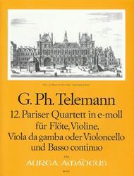 Georg Philipp Telemann  Sheet Music 12th Paris Quartet E minor TWV 43:e4 Song Lyrics Guitar Tabs Piano Music Notes Songbook