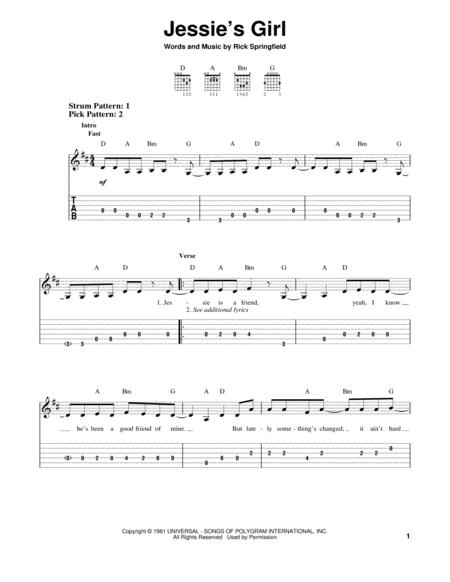 Download Digital Sheet Music of Jessie S for Guitar notes