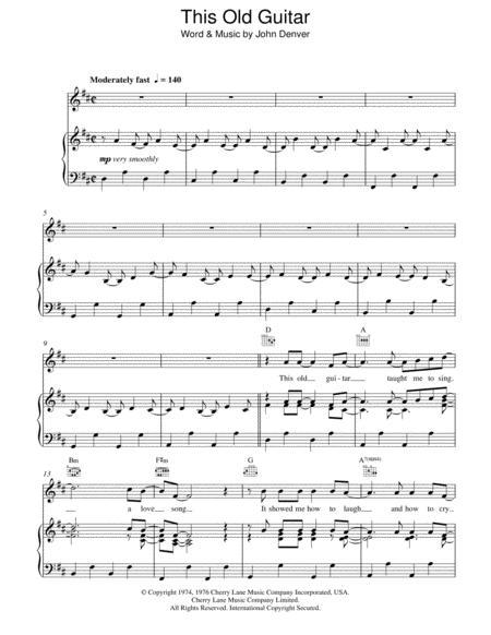 Download Digital Sheet Music Of John Denver Piano Voice For Piano